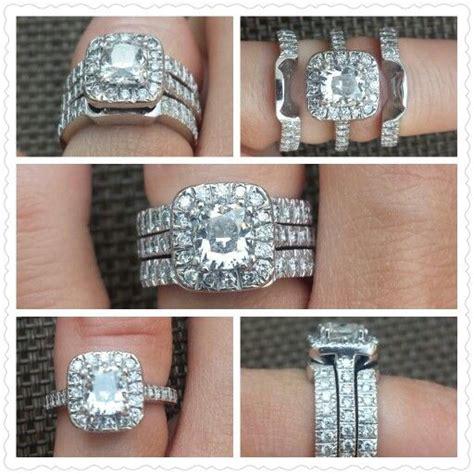custom cushion cut halo wedding ring set two bands fit