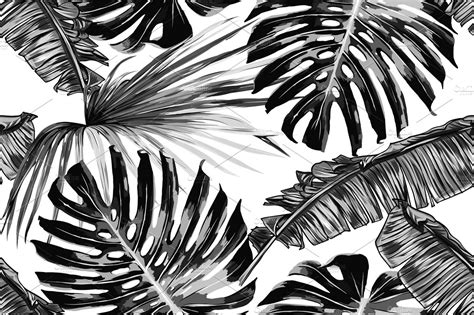 tropical leaves vector pattern graphic patterns