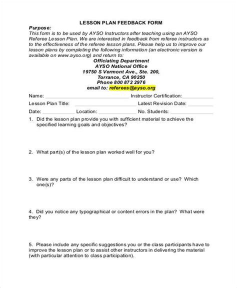lesson plan feedback form sle lesson feedback forms 8 free documents in word pdf