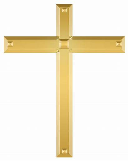 Cross Christian Golden Clipart Crosses Crucifix Transparent