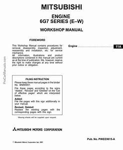 Mitsubishi Engine 6g7  E-w  Series Workshop Manual