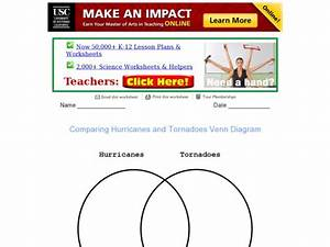 Venn Diagram  Hurricanes And Tornadoes Graphic Organizer