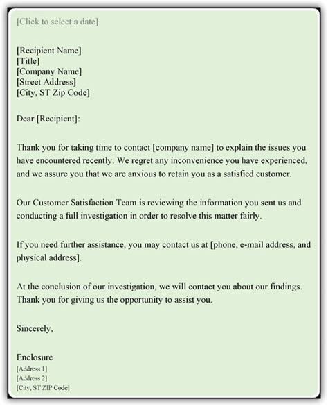 customer complaint response letter sample word  templates