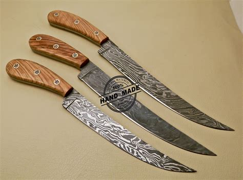 made kitchen knives lot of 3 pcs damascus kitchen knives custom handmade