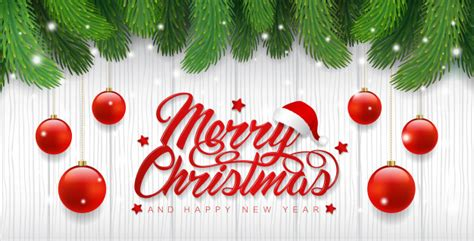 merry christmas banner template christmas tree  balls
