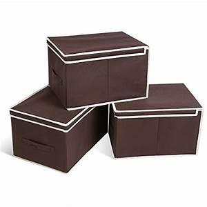 Aufbewahrungsboxen Karton Mit Deckel : homfa 3er aufbewahrungsboxen stoff mit deckel faltbar schublade organizer stoffbox f r schrank ~ Frokenaadalensverden.com Haus und Dekorationen