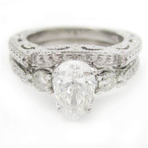 pear shape antique style diamond engagement ring wedding