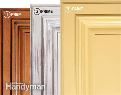 spray stain cabinets how to spray paint kitchen cabinets the family handyman