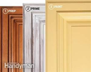 how to spray paint kitchen cabinets the family handyman With what kind of paint to use on kitchen cabinets for how to print stickers