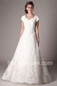 Romantic a line short sleeve lace modest wedding dress for Modest lace wedding dresses