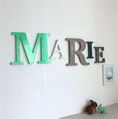 lettre chambre prénom géant couleurs personnalisées en bois patiné