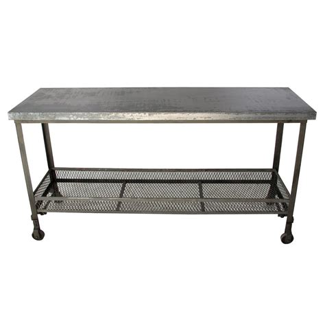 industrial metal console table urban mercantile galvanized steel industrial console table