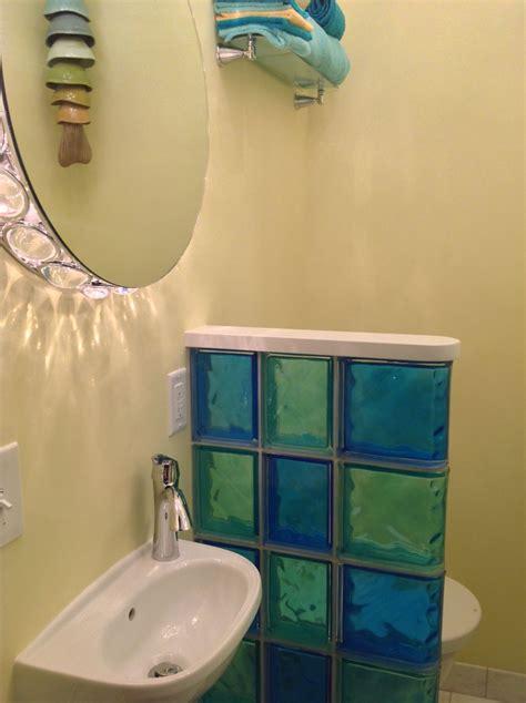 colored glass block shower partition walls   condo