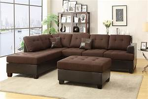 Brown leather sectional sofa and ottoman steal a sofa for Sectional sofa with recliner and ottoman