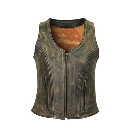 Cowhide Leather Vest by High Mileage S Distressed Brown Three Zipper Cowhide