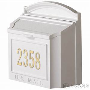 Whitehall Personalized Wall Mount White Mailbox - Brass ...
