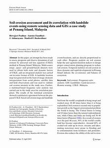 Soil Erosion Assessment And Its Correlation With Landslide