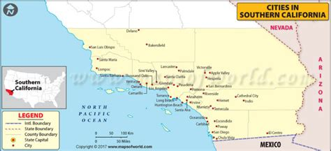 map  cities  southern california