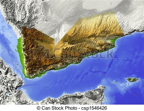 stock illustration  yemen shaded relief map yemen