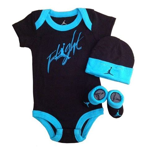Nike Jordan Baby Shoulder Bodysuit Booties and Cap 0-6 Months with... ($40) liked on Polyvore ...