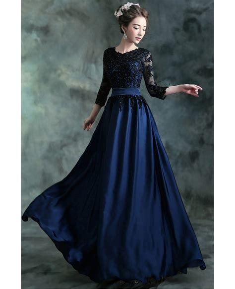 navy blue long formal evening dress   lace beaded