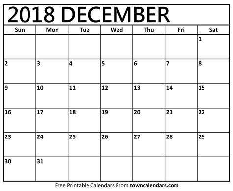 printable december  calendar towncalendarscom
