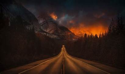 4k Night Nature Road Wallpapers Mountain Forest