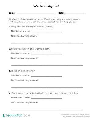 1st grade handwriting worksheets free printables education