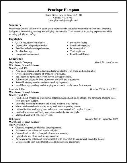 Free Sle Warehouse Resumes by Pin By Topresumes On Resume Warehouse Resume