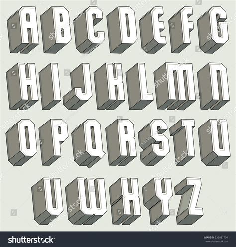 3d font geometric threedimensional letters set stock vector 336081704 shutterstock
