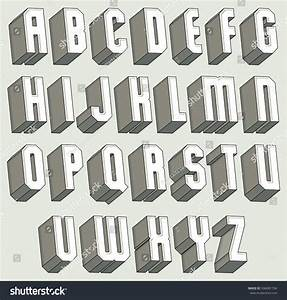 3d font geometric threedimensional letters set stock for Three dimensional letters