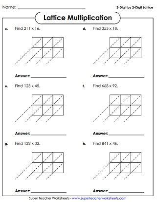 lattice multiplication worksheets multiplication