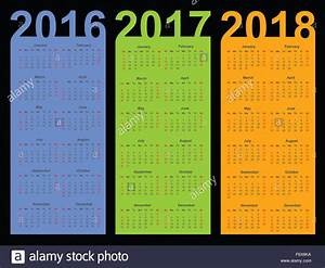 Calendar for 2016, 2017 and 2018 year Stock Photo ...