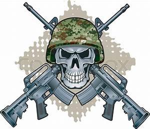 Skull with crossing M16 assault rifles   Stock Vector ...