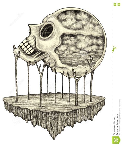 Art Skull Surreal Stock Illustration Image
