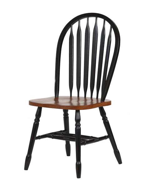 Sunset Trading 38″ Arrowback Dining Chair In Antique Black