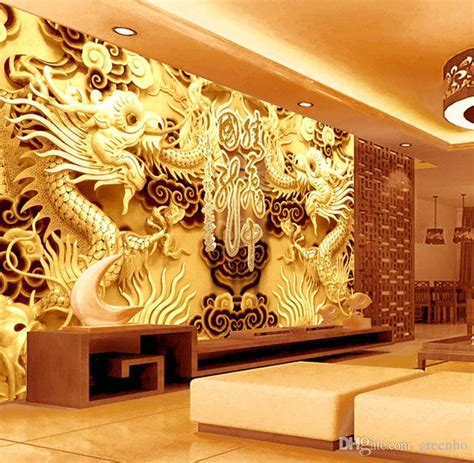 golden dragons photo wallpaper woodcut wall mural