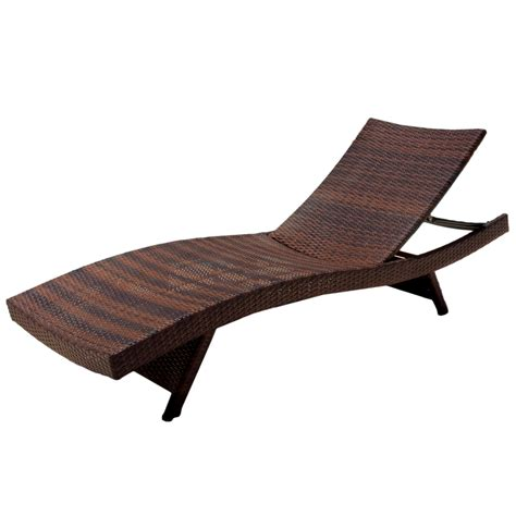 outdoor chaise lounge chairs noble house outdoor brown wicker adjustable chaise lounge
