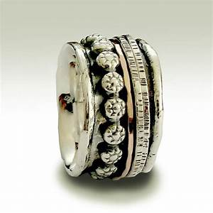 boho ring silver ring spinner ring wide ring silver gold With hippie wedding ring sets