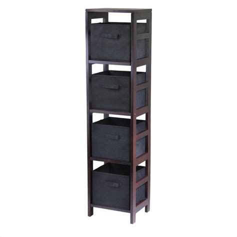 black bookcase with baskets 4 section tall storage shelf with 4 foldable black baskets