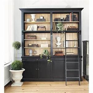 bibliotheque avec echelle en bois massif noire l 201 cm With tapis champ de fleurs avec canapé vintage maison du monde