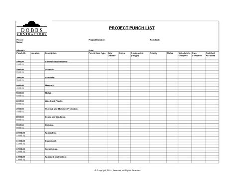 Sample Construction Punch List Template Word Project