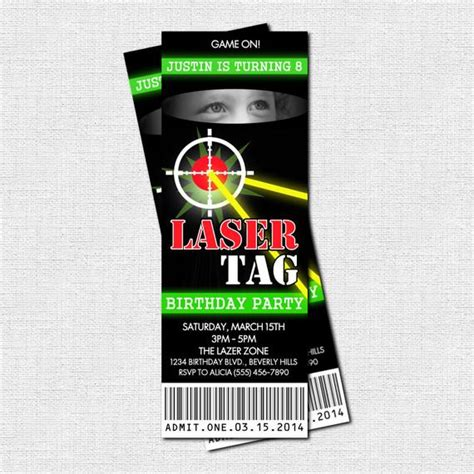 laser tag invitations birthday party  print