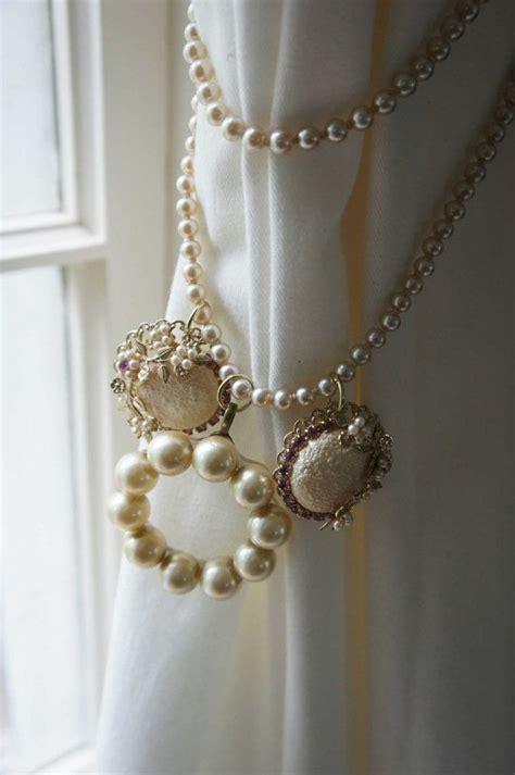 curtain tie back vintage pearl pink jewelry findings