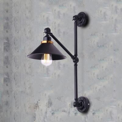 industrial wall sconce with adjustable fixture arm in