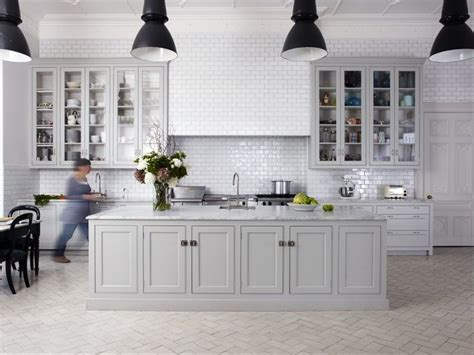 greige painted kitchen black lights white handmade tiles kitchens k 248 kken interi 248 r