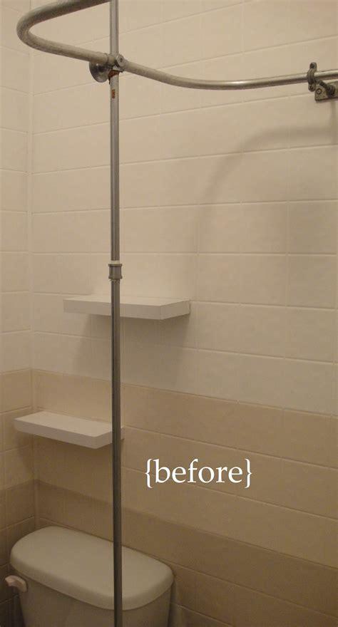 white curtain ideas bathroom mini renovation part 3 diy shower storage so