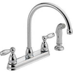 home depot faucets for kitchen sinks delta foundations 2 handle standard kitchen faucet with side sprayer in chrome 21988lf the
