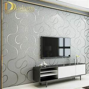 High Quality Thick Flocked Modern 3D Striped Wallpaper For ...