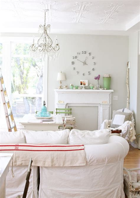 chic living room gray impressive mantle clock in living room shabby chic with Shabby